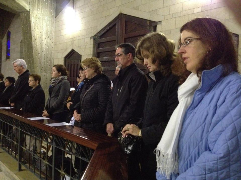 Members of the Catholic Press Association pray in the Basilica of the Annunciation in Nazareth