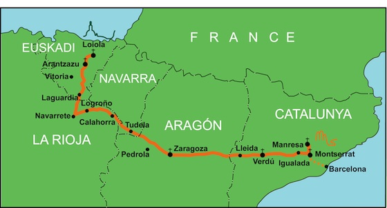 Camino Ignaciano Route Map