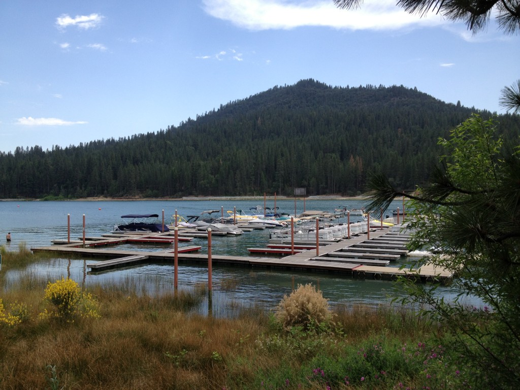 A view of Bass Lake from the back of the resort. Rent a boat at this dock or bring your own.