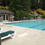 The pool and whirlpool offer great views of the lake and a nice place to relax.