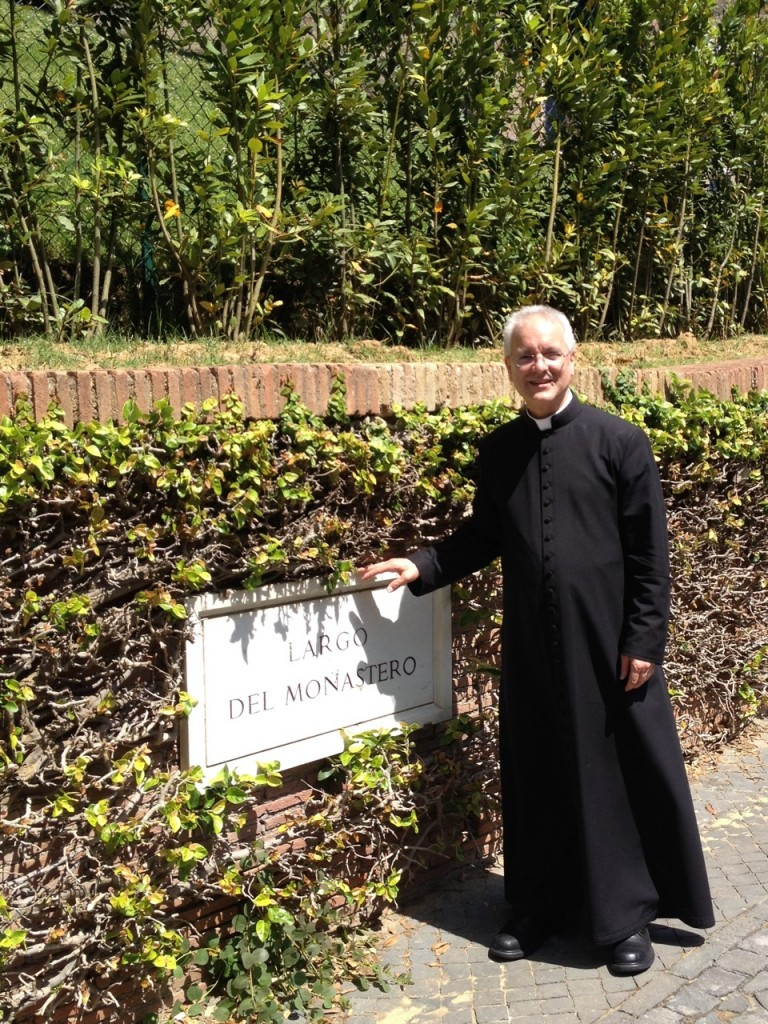 Fr. Jay Finelli in front of Pope Emeritus Benedict XVI's residence, the Mater Ecclesiae Monastery