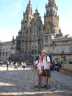Tim Prince and his wife Robin in front of the cathedral in Santiago de Compostela at the end of their Camino walk.